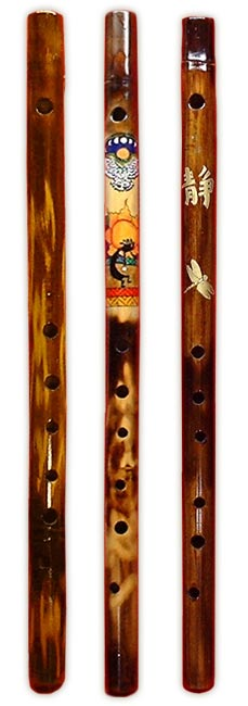 Hand-painted bamboo flutes